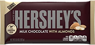 HERSHEY'S Chocolate Candy Bars with Almonds, 6.8 Ounce (Pack of 12)