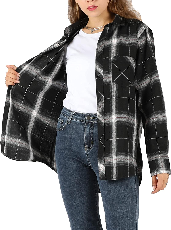 Zontroldy Womens Long Sleeve Shirt Loose Casual Button Down Plaid Shirt Tops Blouse