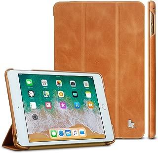 iPad Mini 5 /4 Case, Jisoncase 2019 iPad Mini 5/4 Genuine Leather Trifold Case, Ultra Slim iPad Mini 5 Smart Cover with Auto Sleep/Wake Function for iPad Mini 5th / 4th Generation Brown