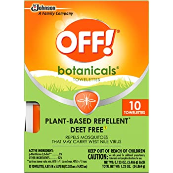 OFF! Botanicals Mosquito and Insect Repellent Towelettes, Plant-Based*, Deet-Free**, Easy to Apply, 10 Individually Wrapped Wipes