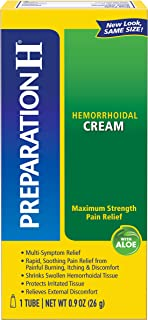 Preparation H Hemorrhoid Symptom Treatment Cream (0.9 Ounce Tube), Maximum Strength Multi-Symptom Pain Relief with Aloe