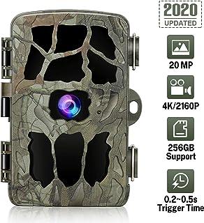 GRM Camara de Caza 20MP 4K Camara Fototrampeo Visión Nocturna Impermeable IP66 Cámara de Vigilancia de Vida Silvestre Detección de Acción LED IR Trail Cámara para Seguimiento Cinegético de Fauna