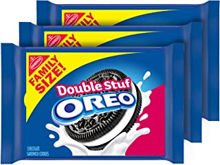 OREO Double Stuf Chocolate Sandwich Cookies, Family Size, 3 Packs