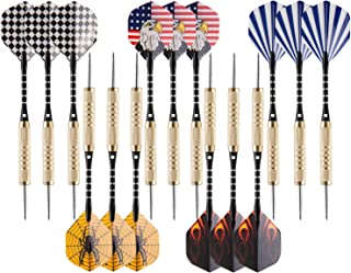 UZOPI 15 Packs Steel Tip Darts 18 Grams with Dart Sharpener and 3 Extra Flights, Aluminum Shafts & Brass Barrels, Levels in Every Rec Room, Man Cave, Bar and Game Room