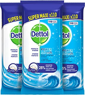 Dettol Power en Fresh MultiReinigingsdoekjes - Oceaan 3 x 110 DoekjesGrootverpakking