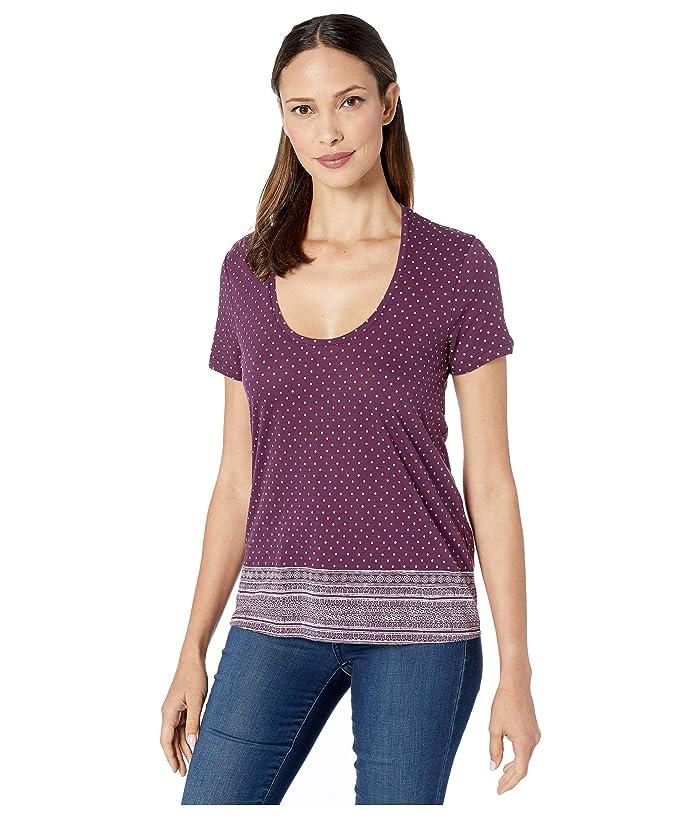 Lucky Brand  Border Print Tee (Potent Purple) Womens Clothing