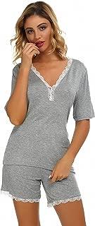 Women 2 pc Pajama Set Short Sleeve V Neck Top Pants Sleepwear Pj Sets