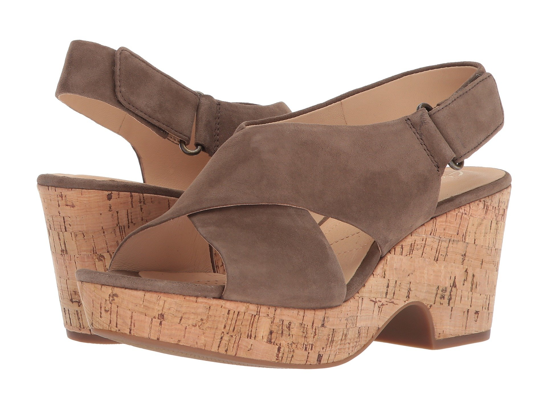 New Clarks Maritsa Lara Women's Wedge Shoes, Olive Suede/Cork