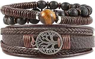 Genuine Leather Tree of life Bracelets Men Women, Tiger Eye Natural Stone Lava Rock Beads Ethnic Tribal Elastic Bracelets ...