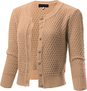 e9c61656bf ARC Studio Womens Button Down 3 4 Sleeve Cropped Knit Cardigan Crochet  Sweater (S