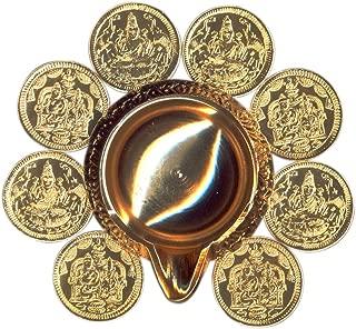Bakthi Today Lakshmi Kubera Dhanakarshan 8 Coin Deep Diya 3 Inch - A0717 X Yellow