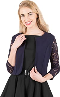 BlackButterfly Cropped 3/4 Lace Sleeve Open Bolero Evening Blouse