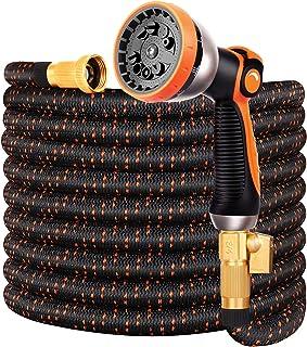 "Double Couple Garden Hose Flexible Car Wash Water Hose - Super Durable 3750D,4-Layers Latex,3/4"" Nozzle Solid Brass Connectors with 10-Way Professional Zinc Water Spray Nozzle(50 FT, Orange)"