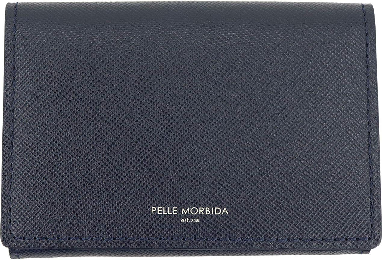 分泌する効果的不純[PELLE MORBIDA ペッレモルビダ] 型押しレザー 三つ折り財布 PMO-BA519 NAVY(ネイビー)