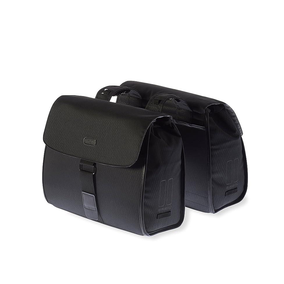 Basil Noir Double Bicycle Pannier Bag - Midnight Black - 38 Litre