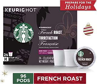 Starbucks French Roast Dark Roast Single Cup Coffee for Keurig Brewers, 4 Boxes of 24 | Great Holiday Gift for Coffee Lovers