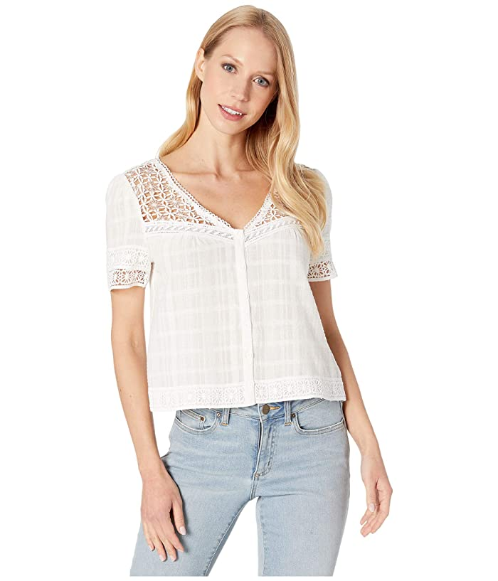 BB Dakota  All Over The Lace Cotton Plaid Top with Lace Yoke (Ivory) Womens Clothing