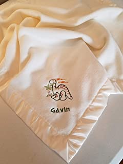 Personalized Fleece Baby Blanket With Embroidered Dinosaur