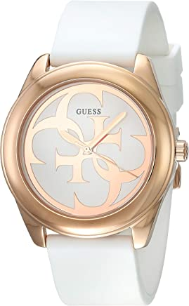 Guess G Twist White Dial Silicone Strap Ladies Watch W0911L5