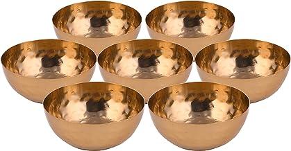 elite DECORIO Golden Engraved Set of 7 Offering Bowls Tibetan Buddhist Mini Offering Bowls Water Offering Bowls Supplies O...