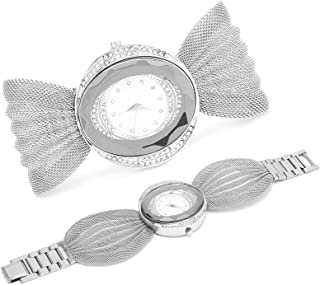 Elegant Wrist Watch, Women Watch Fashionable Wide Mesh Belt for Dating Gathering for Wedding Party(Silver)