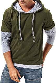DAIKEN Men's Hoodie Shirt Casual Long Sleeve Lightweight Thin Pullover Hooded Sweatshirt with Kanga Pocket