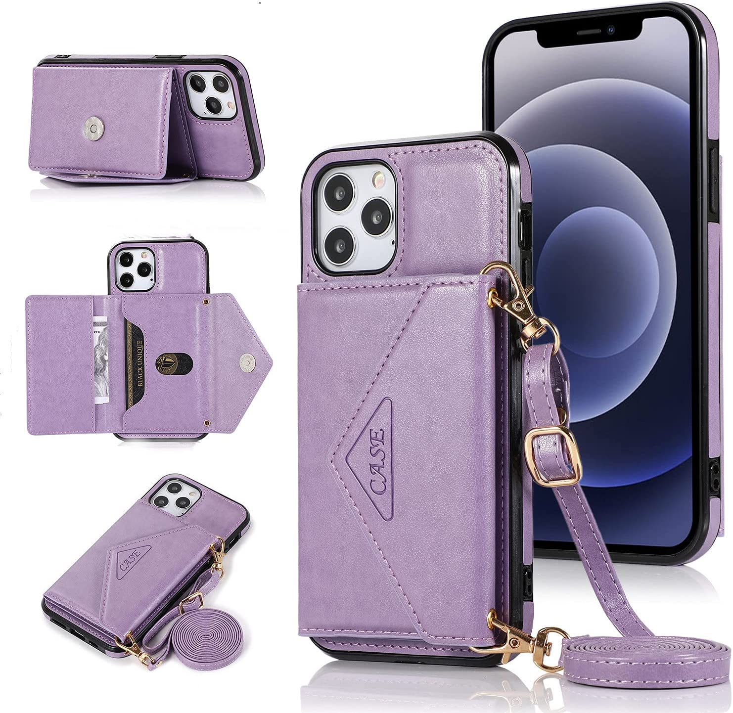 ISYSUII Crossbody Case for Samsung Galaxy A41 Wallet Case with Card Holder Kickstand Detachable Lanyard Strap Leather Shockproof Protective Flip Cover Magnetic Handbag Cover,Purple