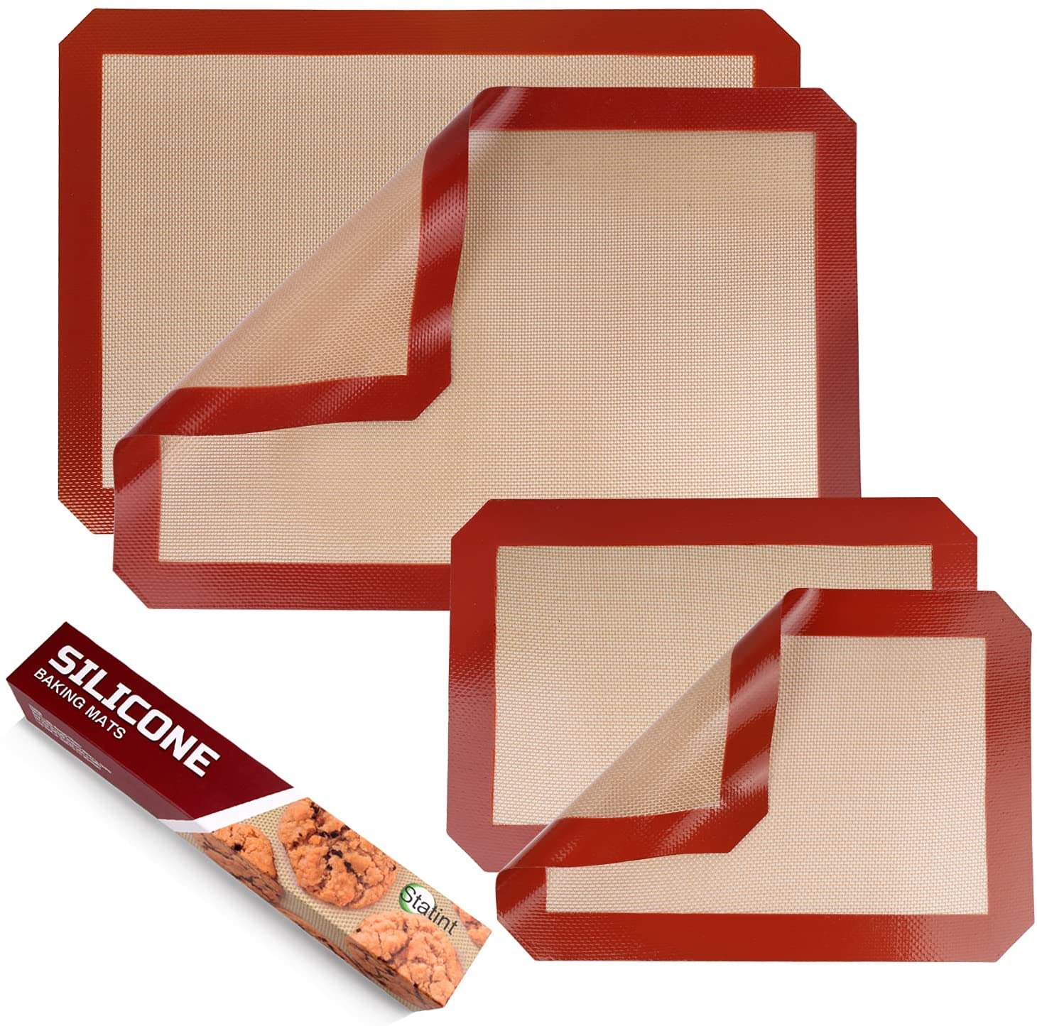 STATINT Non-Stick Silicone Baking Mat, Food Safe - Pack of 4