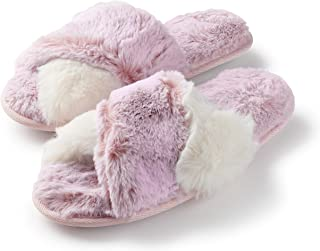 Women's Cross Band Soft Furry Slipper 2 Tone Color Cozy...