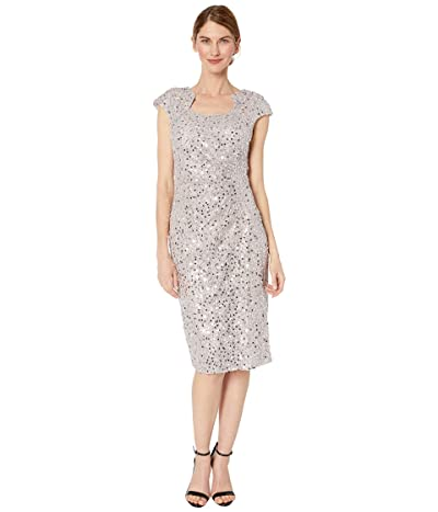 Tahari by ASL Petite Cap Sleeve Sequin Stretch Lace Side Draped Dress (Silver Mist) Women