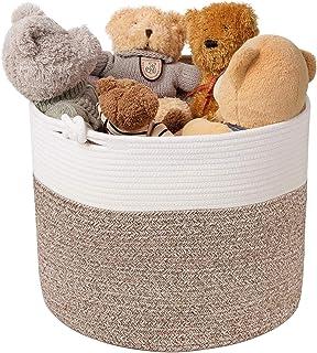 Goodpick Cotton Rope Basket with Handle for Baby Laundry Basket Toy Storage Blanket Storage Nursery Basket Soft Storage Bi...