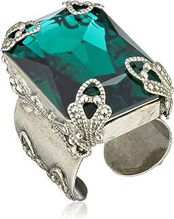 Large Cut Crystal Adjustable Ring, Size 7-9