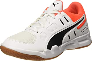 Puma Unisex Kid's Auriz Jr White Black-nrgy Red Badminton Shoes
