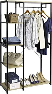 Seville Classics  5-Tier Freestanding Metal Garment Rack with Wood Shelves Open Wardrobe Closet Storage Organizer, Black/Light Brown