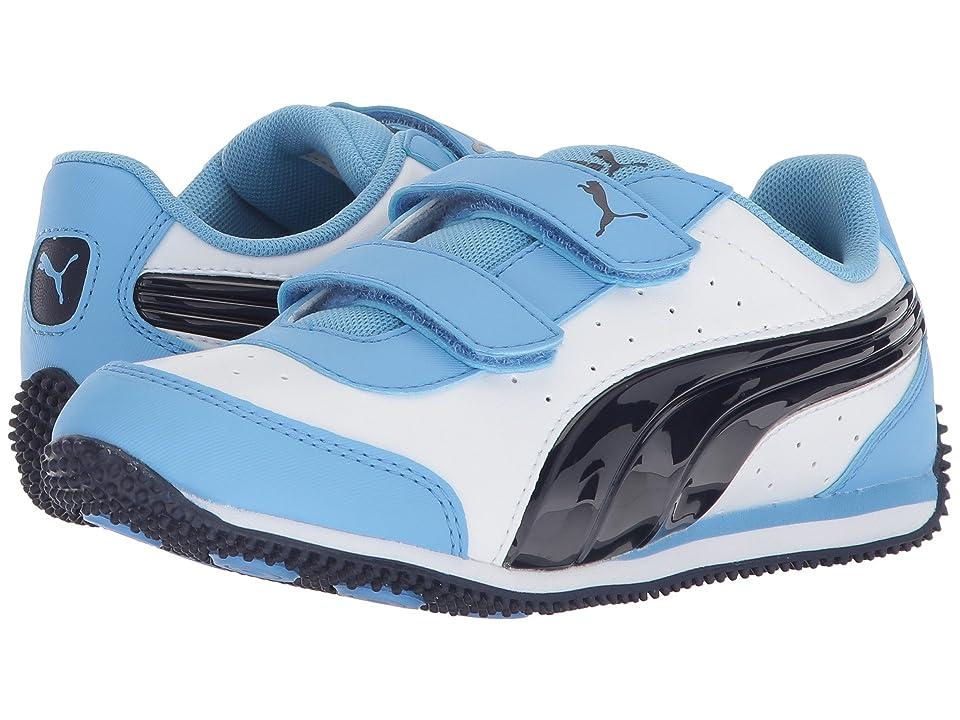 Puma Kids Speed Lightup Power V (Little Kid/Big Kid) (PUMA White/Peacoat) Boys Shoes