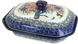 Blue Rose Polish Pottery Blush Bouquet Medium Covered Baking Dish