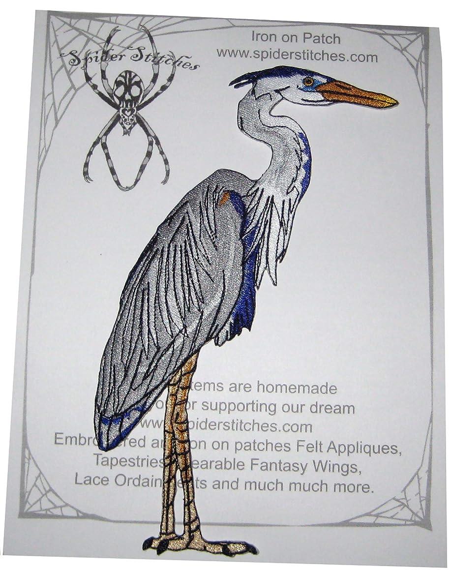 Huge Great Blue Heron Bird Iron on Patch