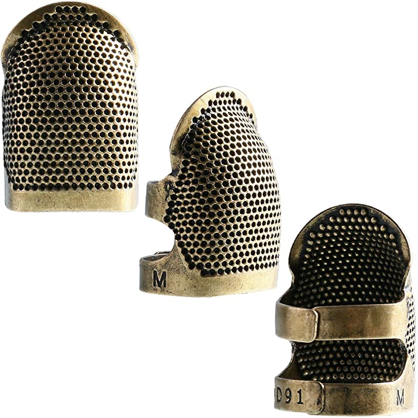 4 Pieces Medium Copper Finger Protector Thimble Adjustable Fingertip Thimble for Hand Sewing, Embroidery Needlework
