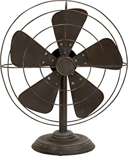Deco 79 Rustic Non-Functional Metal Old Fan Table Decor, One Size, Textured Black Finish