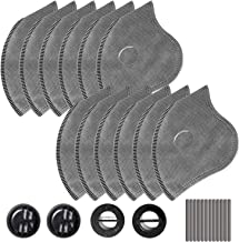 AstroAI 12 PCS Activated Carbon Filter Replacement Set for Reusable Face Dust Masks, with 4 Breathing Valves and 12 Soft N...