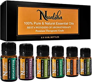 Nualoha Top 6 Aromatherapy Essential Oils Set-100% Pure Natural Bulgarian Lavender, Tea Tree, Sweet Orange, Eucalyptus, Lemongrass, Peppermint Oil Pack (6x10 ml) For Diffusers, Massage, Skin,Body Care