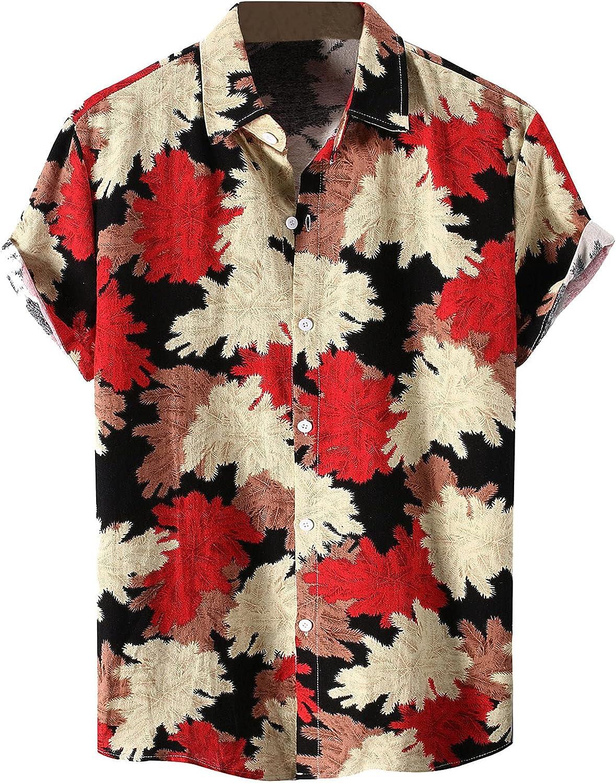 Hawaiian Shirts for Men Short Sleeve Regular Fit Mens Floral Shirts Casual Button Down Beach Aloha Shirt