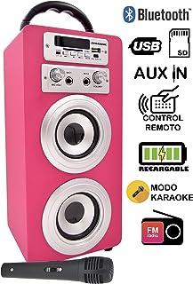 DYNASONIC - Altavoz Karaoke Bluetooth 10W, Color Rosa |