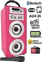 DYNASONIC - Altavoz Karaoke Bluetooth 10W, Color Rosa  
