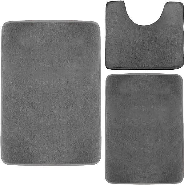 Clara Clark Memory Foam Bath Mat Ultra Soft Non Slip And Absorbent Bathroom Rug Gray Set Of 3 Small Large Contour