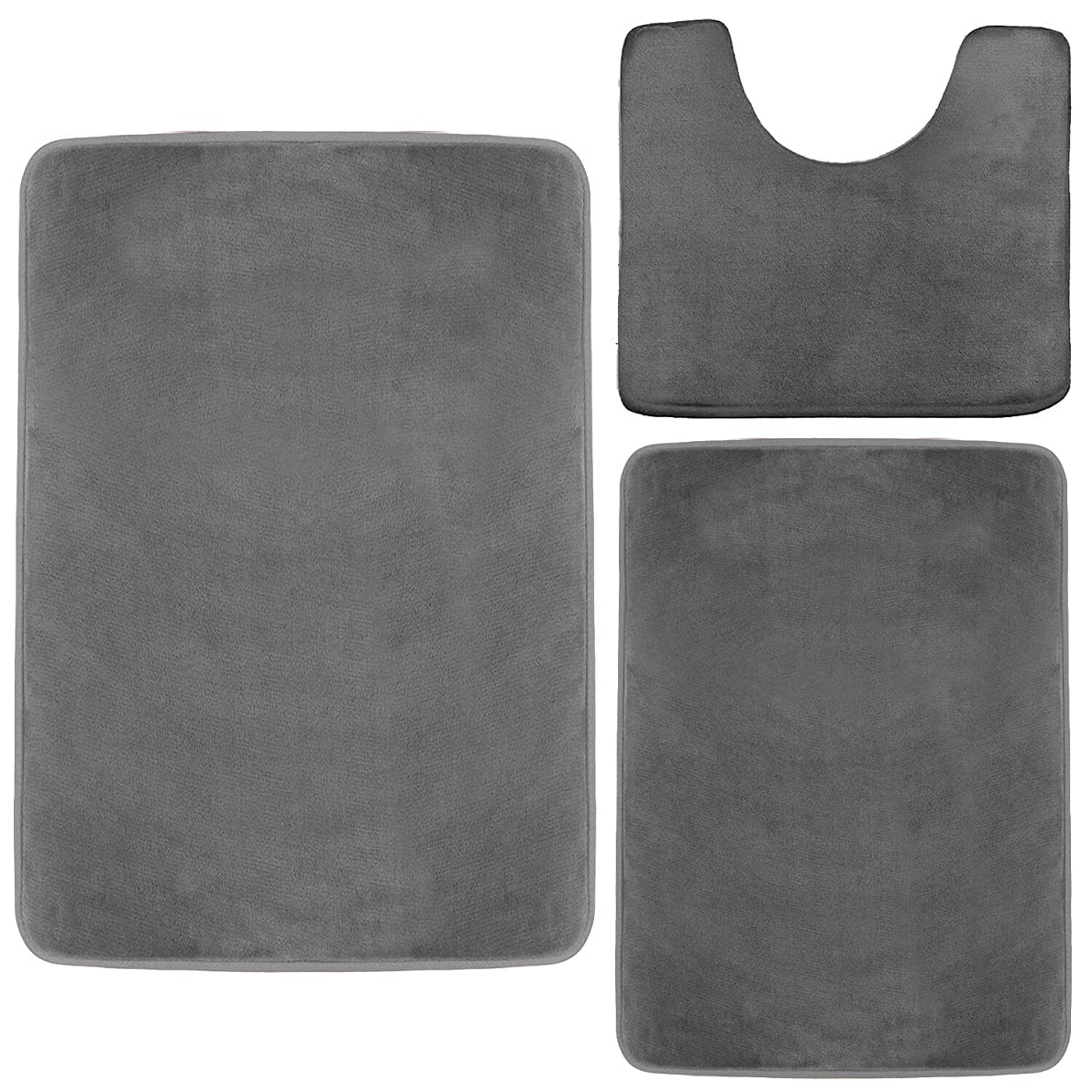 Clara Clark Memory Foam Bath Mat, Ultra Soft Non Slip and Absorbent Bathroom Rug. – Gray, Set of 3 - Small/Large/Contour