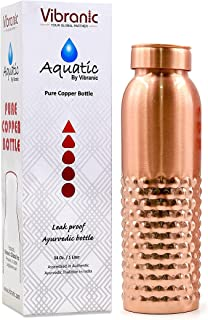 Copper Water Bottle 34oz Half DT Hammered Leak Proof, Perfect Ayurvedic Copper Vessel for Sports, Fitness, Yoga, Natural H...