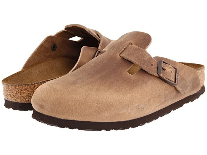 Retro Vintage Flats and Low Heel Shoes Birkenstock Boston - Oiled Leather Unisex Tobacco Oiled Leather Clog Shoes $134.95 AT vintagedancer.com