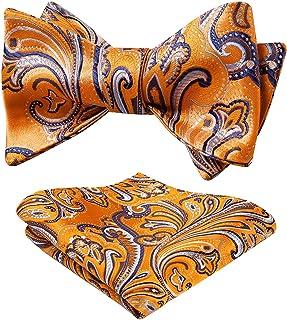 HISDERN Men's Paisley Floral Handkerchief Jacquard Wedding Party Self Bow Tie Pocket Square Set