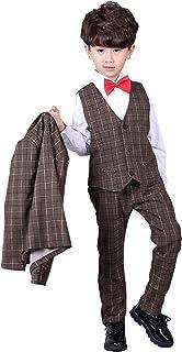 子供服 チェック柄 フォーマルスーツ 男の子 紳士服 七五三 誕生日 入園式 フォーマル 洋服 四セット (110cm, イエロー)